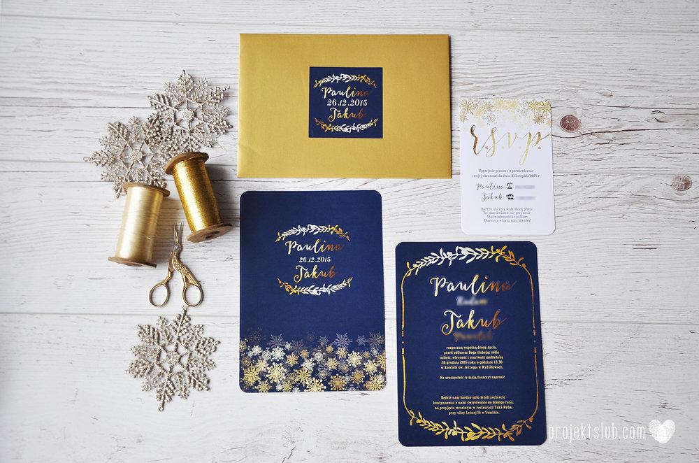 oryginalne zaproszenia ślubne eleganckie zimowe wesele boże narodzenie granatowe złote śnieżynki płatki śniegu biel glamour gwiazdki projekt ślub (3).jpg