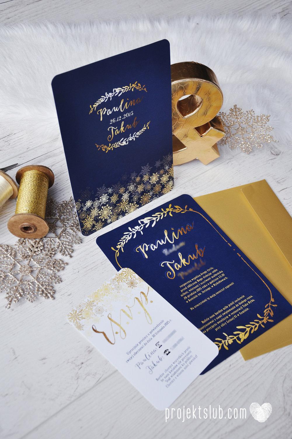 oryginalne zaproszenia ślubne eleganckie zimowe wesele boże narodzenie granatowe złote śnieżynki płatki śniegu biel glamour gwiazdki projekt ślub (5).jpg