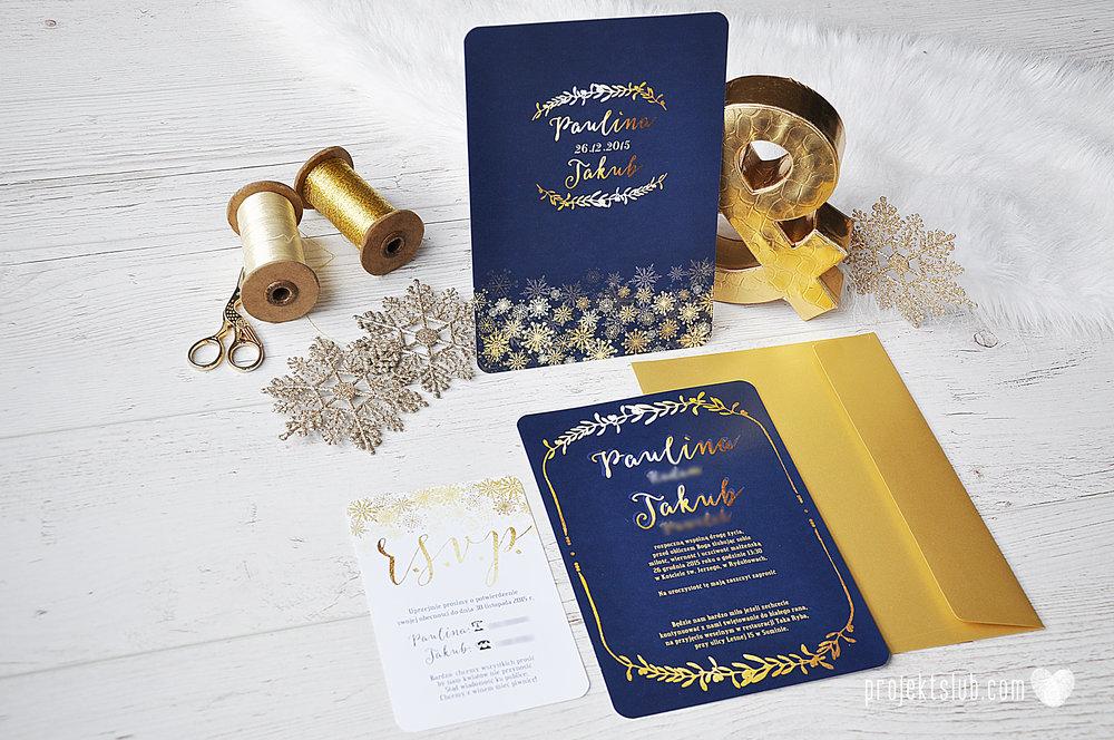 oryginalne zaproszenia ślubne eleganckie zimowe wesele boże narodzenie granatowe złote śnieżynki płatki śniegu biel glamour gwiazdki projekt ślub (4).jpg