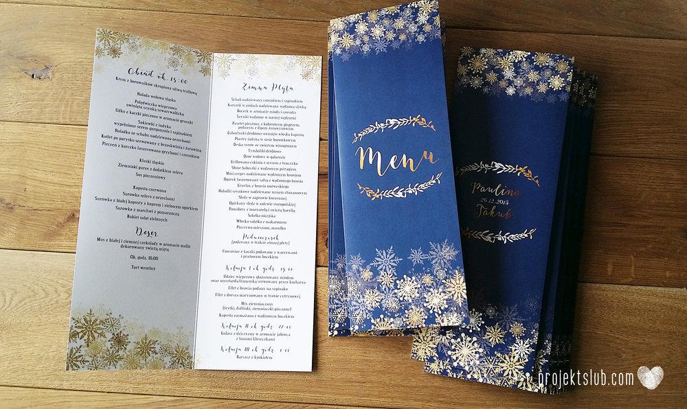 oryginalne zaproszenia ślubne eleganckie zimowe wesele boże narodzenie granatowe złote śnieżynki płatki śniegu biel glamour gwiazdki projekt ślub (6).jpg