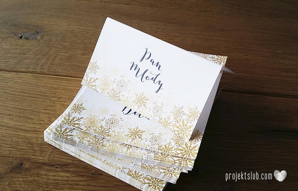 oryginalne zaproszenia ślubne eleganckie zimowe wesele boże narodzenie granatowe złote śnieżynki płatki śniegu biel glamour gwiazdki projekt ślub (7).jpg