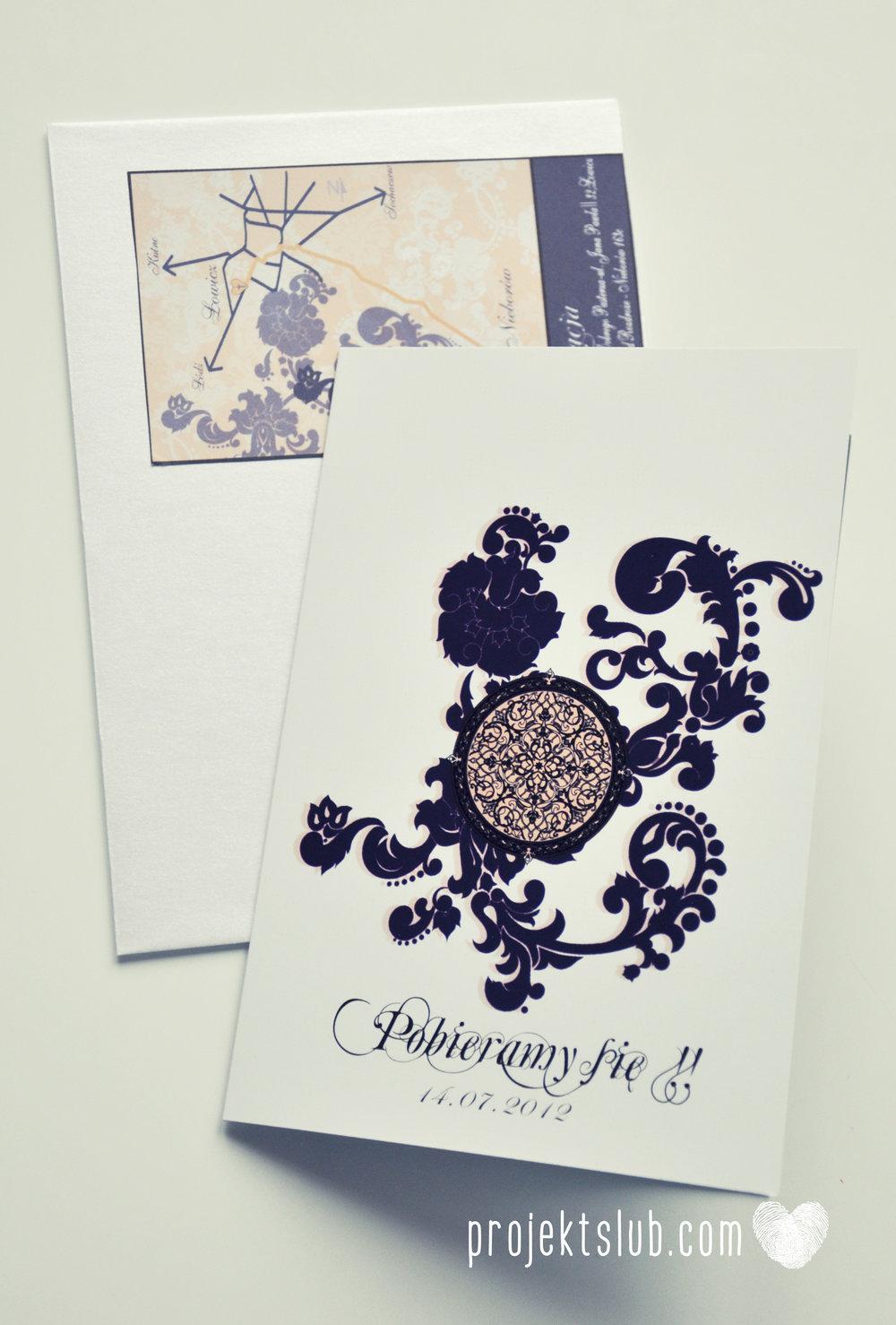 Klasyczne zaproszenie ślubne Granatowa Elegancja beżowa dodatki i dekoracje ślubne Projekt Ślub (7).jpg