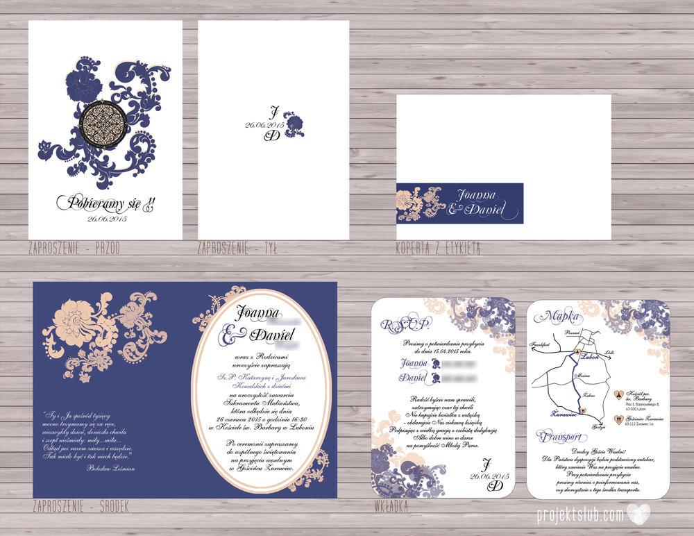 Klasyczne zaproszenie ślubne Granatowa Elegancja beżowa dodatki i dekoracje ślubne Projekt Ślub (8).jpg