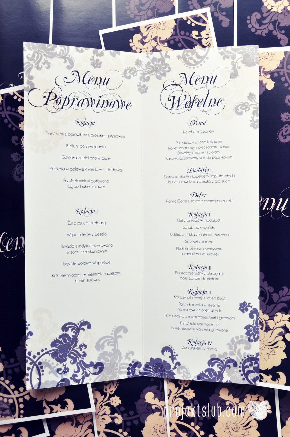 Klasyczne zaproszenie ślubne Granatowa Elegancja beżowa dodatki i dekoracje ślubne Projekt Ślub (30).jpg