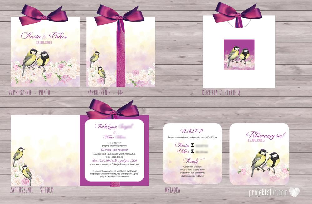 zaproszenia-ślubne-eleganckie-glamour-ptaszki-sikorki-biel-żóty-fiolet-ciemny-fiolet-róże-zaproszenia-projekt-ślub.png