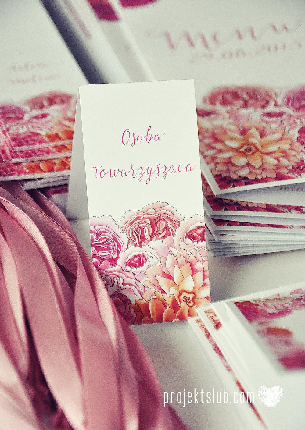 Zaproszenia ślubne z motywem kwiatów eleganckie z kwiatami fuksja róż pomarańcz kwiaty Projekt Ślub (14).JPG