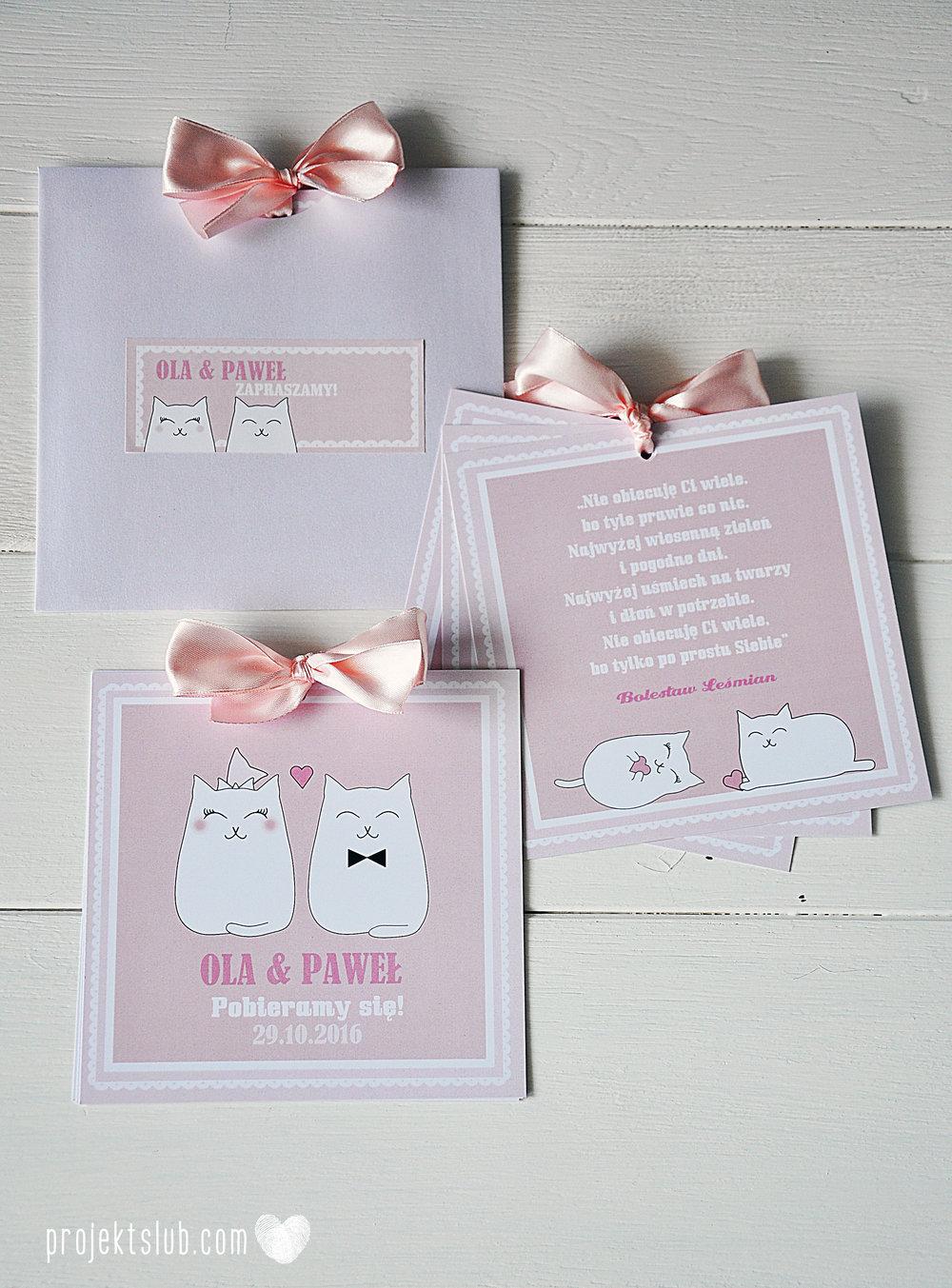 Oryginalne zaproszenia i dodatki ślubne koty rysunkowe kocimiętka pudrowy róż Projekt Ślub (2).jpg