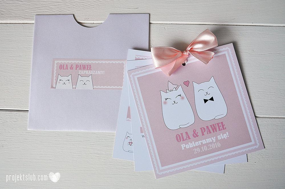 Oryginalne zaproszenia i dodatki ślubne koty rysunkowe kocimiętka pudrowy róż Projekt Ślub (3).jpg