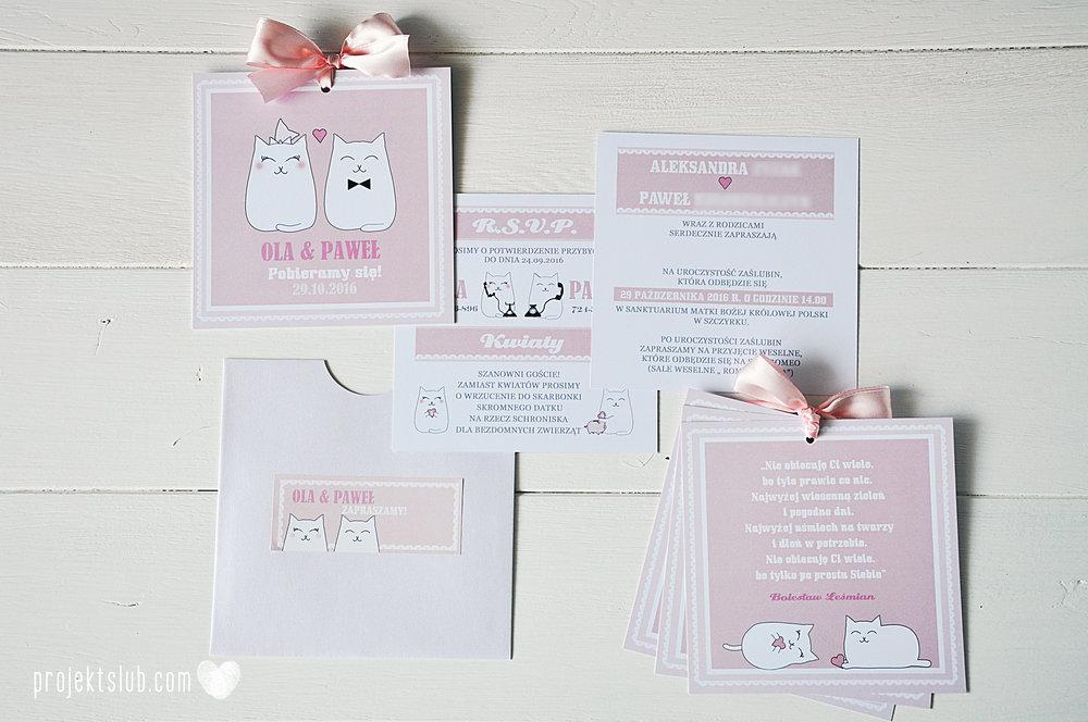 Oryginalne zaproszenia i dodatki ślubne koty rysunkowe kocimiętka pudrowy róż Projekt Ślub (4).jpg