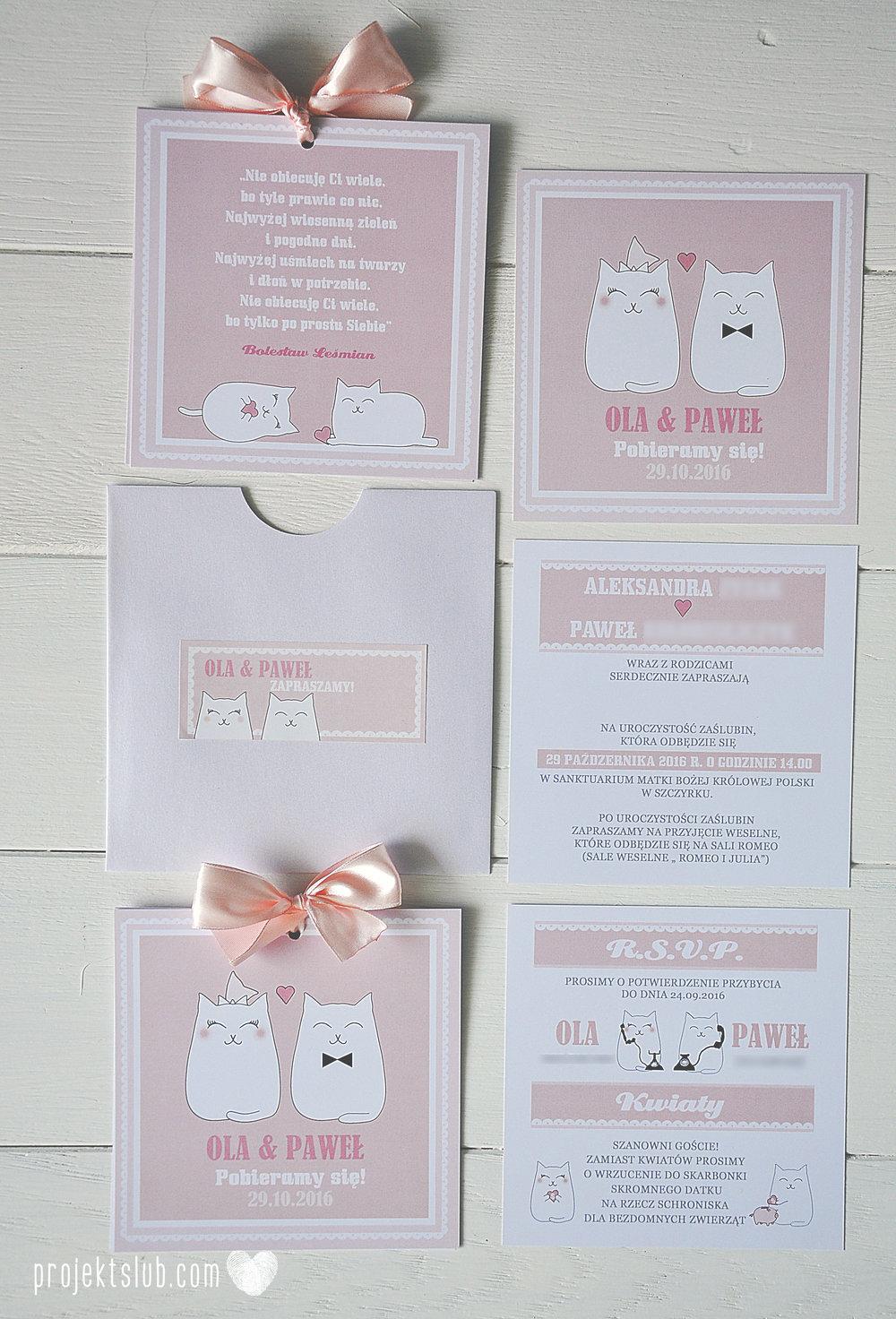 Oryginalne zaproszenia i dodatki ślubne koty rysunkowe kocimiętka pudrowy róż Projekt Ślub (7).JPG