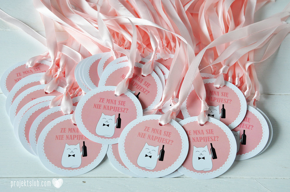 Oryginalne zaproszenia i dodatki ślubne koty rysunkowe kocimiętka pudrowy róż Projekt Ślub (8).JPG