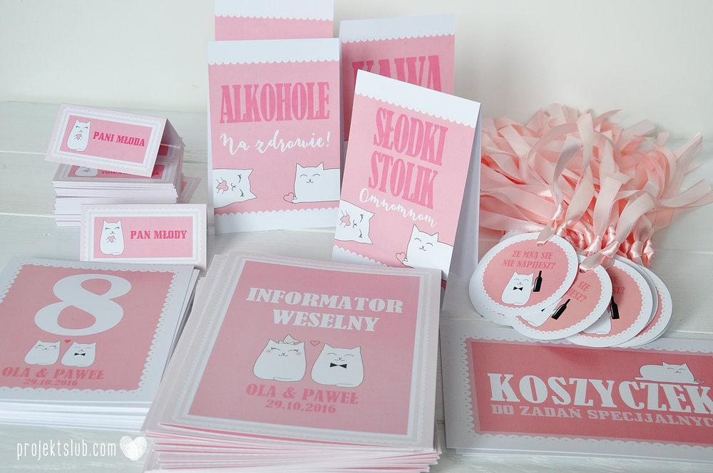 Oryginalne zaproszenia i dodatki ślubne koty rysunkowe kocimiętka pudrowy róż Projekt Ślub (12).JPG