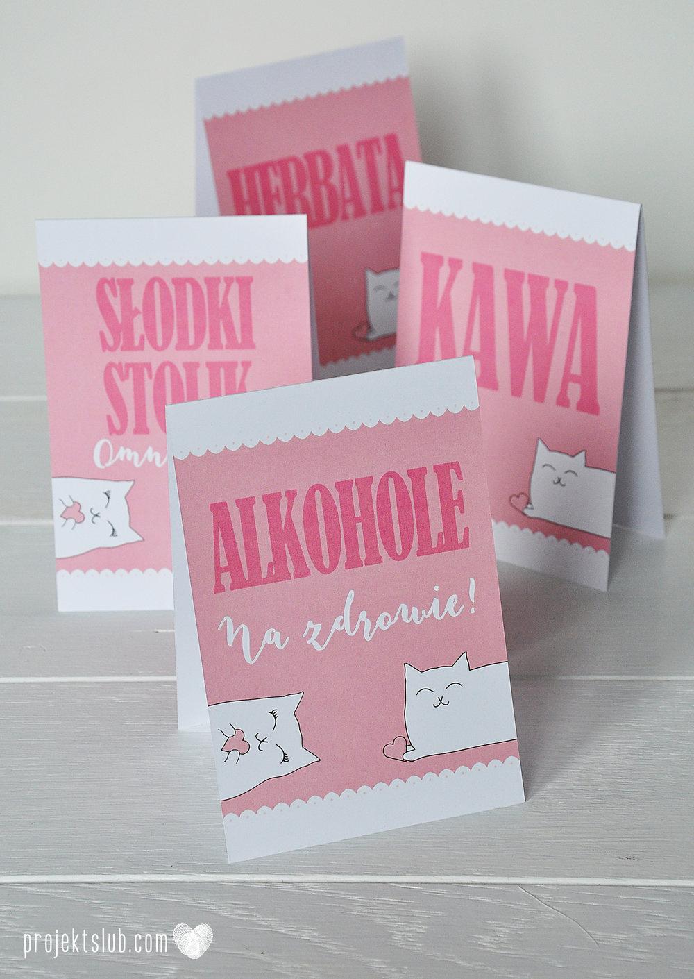 Oryginalne zaproszenia i dodatki ślubne koty rysunkowe kocimiętka pudrowy róż Projekt Ślub (14).JPG