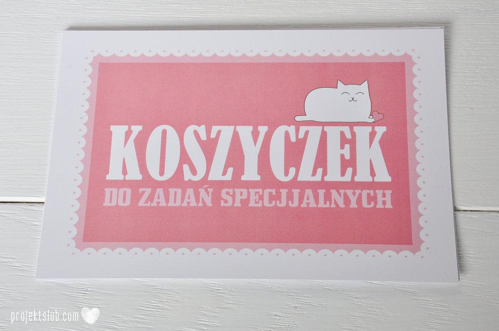 Oryginalne zaproszenia i dodatki ślubne koty rysunkowe kocimiętka pudrowy róż Projekt Ślub (13).JPG