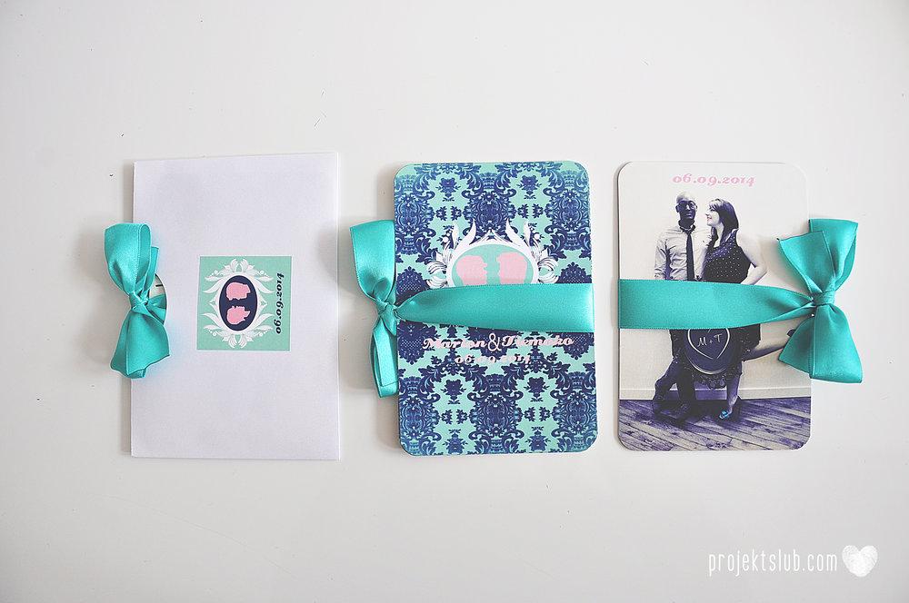 zaproszenia ślubne i dodatki weselne turkus mięta granat kamea piękne zaproszenia oryginalne nietypowe karty  elegancka oryginalna papeteria projekt ślub (8).jpg