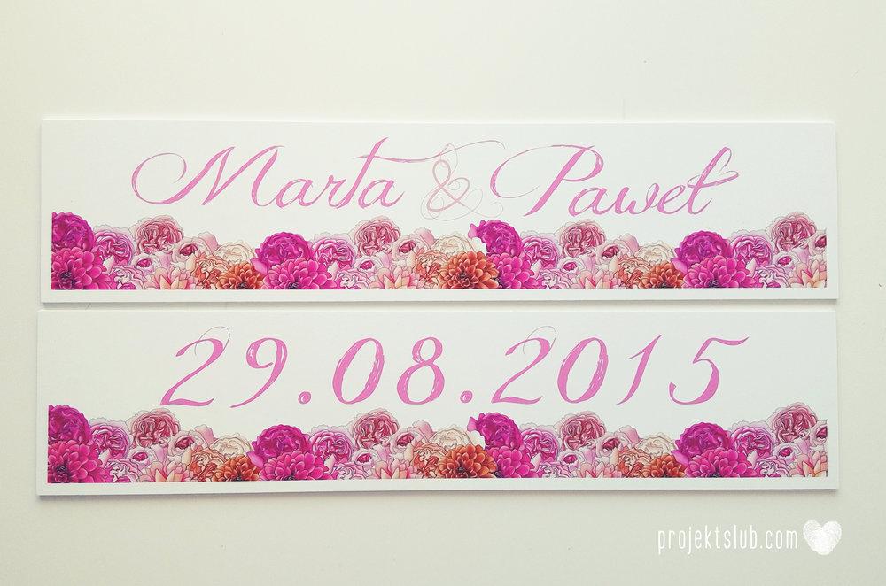 Zaproszenia ślubne z motywem kwiatów eleganckie z kwiatami fuksja róż pomarańcz kwiaty Projekt Ślub (38).jpg