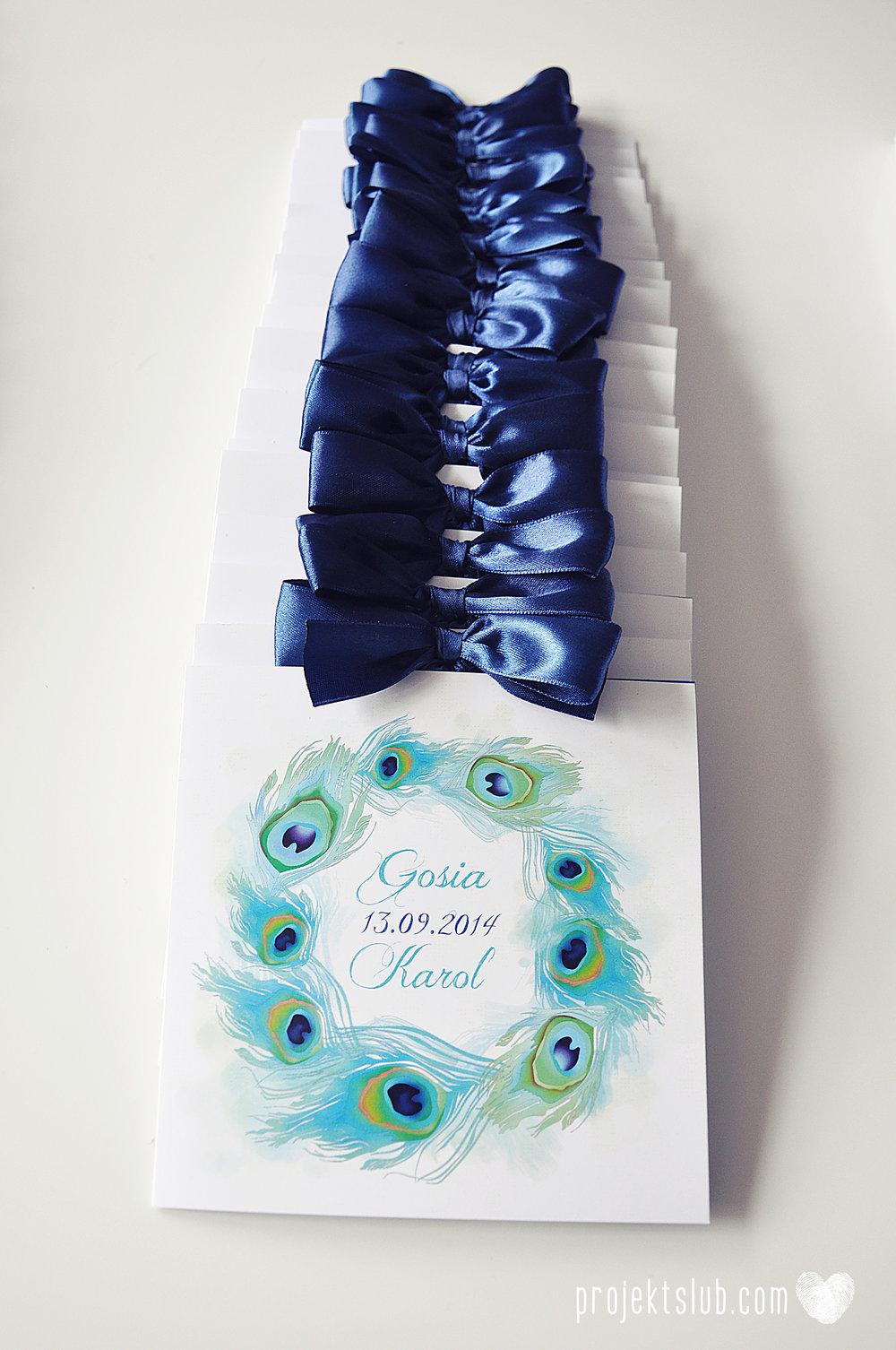 oryginalne zaproszenia i dodatki ślubne pawie oczko turkus granat biel elegancka papeteria projekt ślub (12).JPG