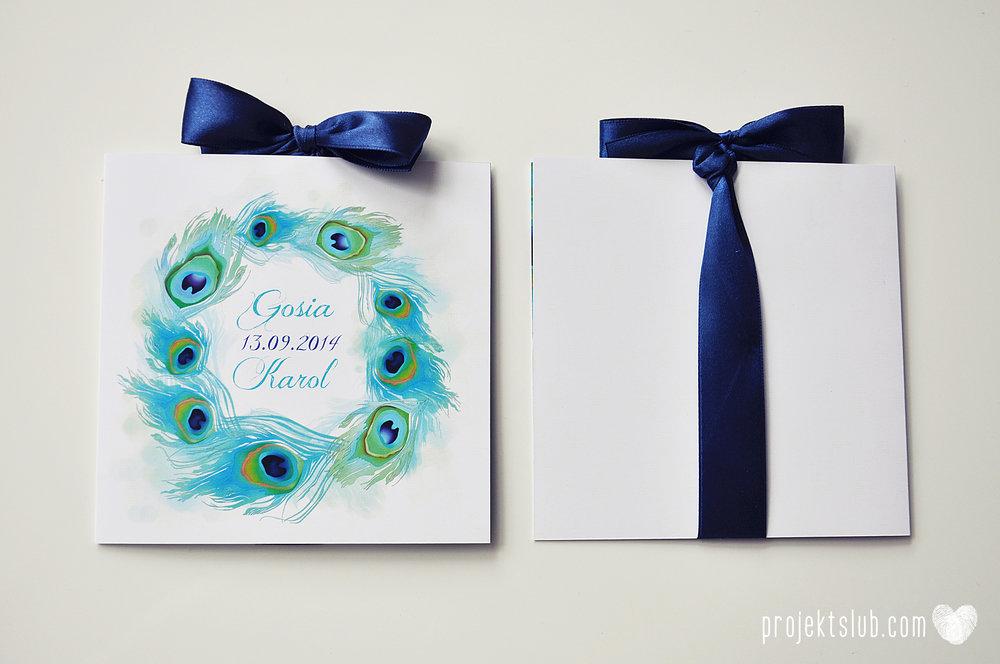 oryginalne zaproszenia i dodatki ślubne pawie oczko turkus granat biel elegancka papeteria projekt ślub (15).JPG