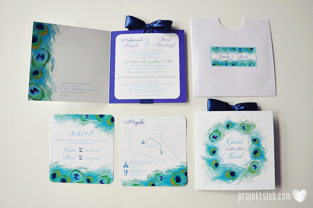 oryginalne zaproszenia i dodatki ślubne pawie oczko turkus granat biel elegancka papeteria projekt ślub (16).JPG