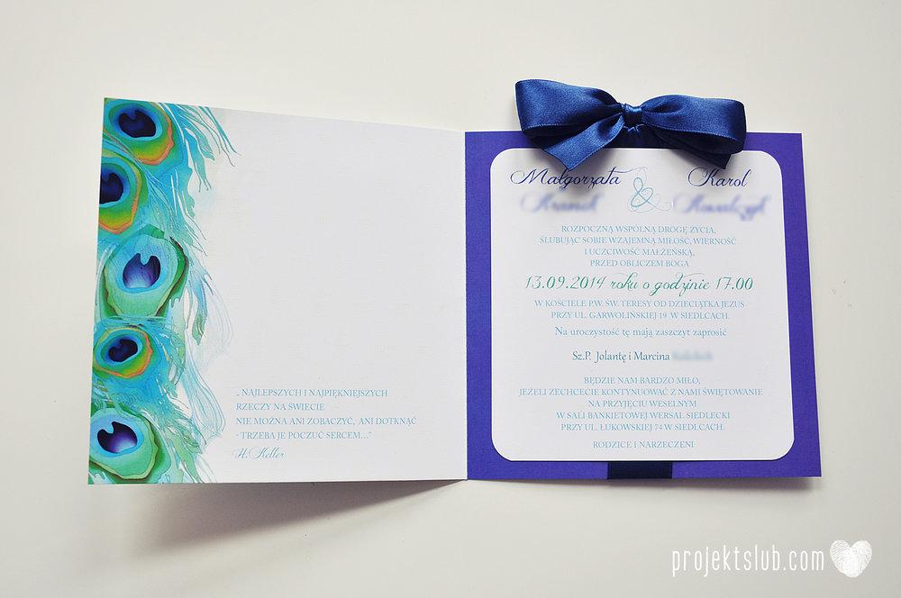 oryginalne zaproszenia i dodatki ślubne pawie oczko turkus granat biel elegancka papeteria projekt ślub (14).JPG