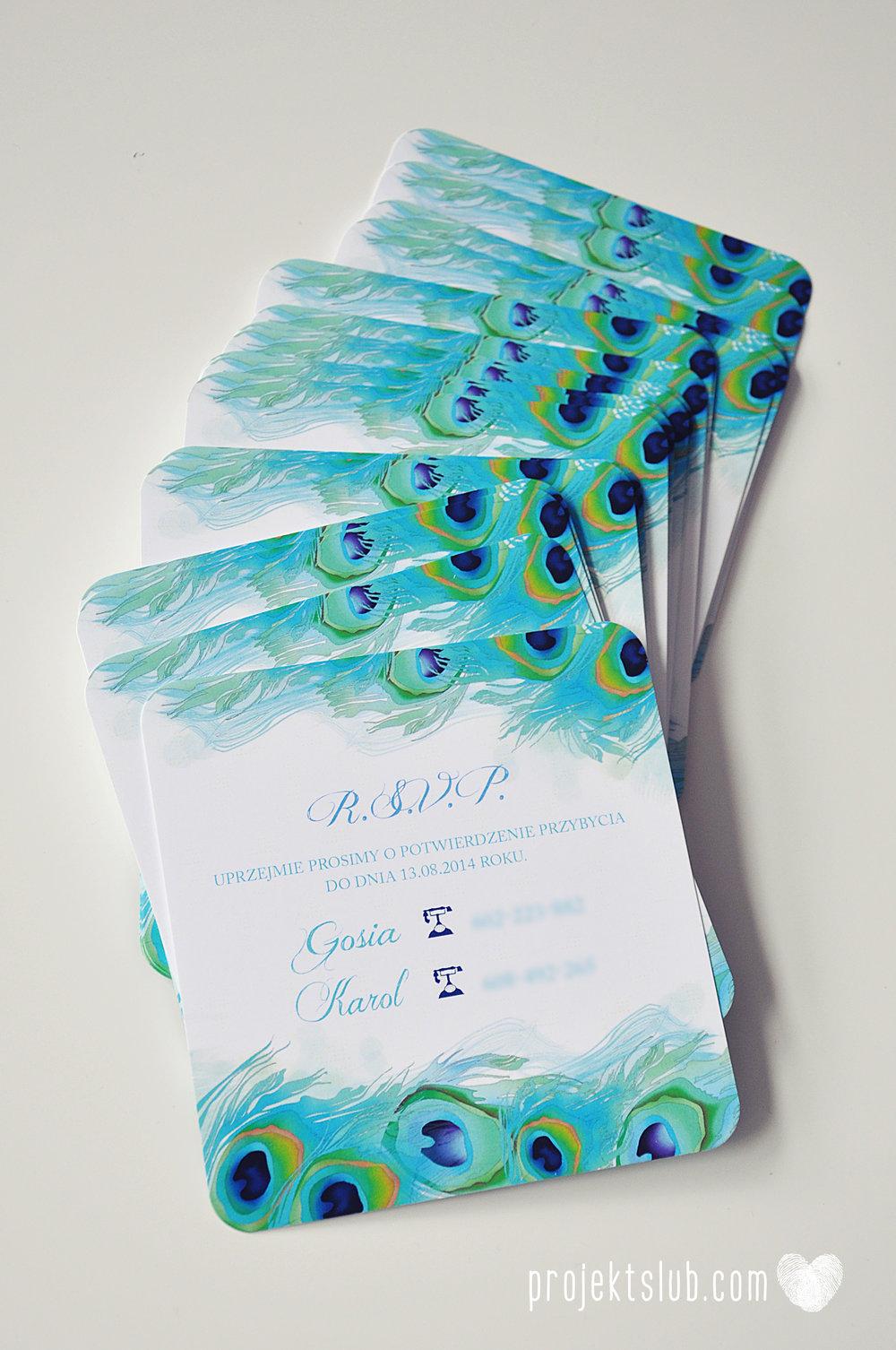 oryginalne zaproszenia i dodatki ślubne pawie oczko turkus granat biel elegancka papeteria projekt ślub (21).JPG