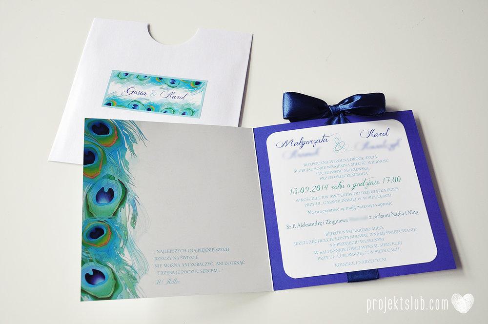 oryginalne zaproszenia i dodatki ślubne pawie oczko turkus granat biel elegancka papeteria projekt ślub (20).JPG