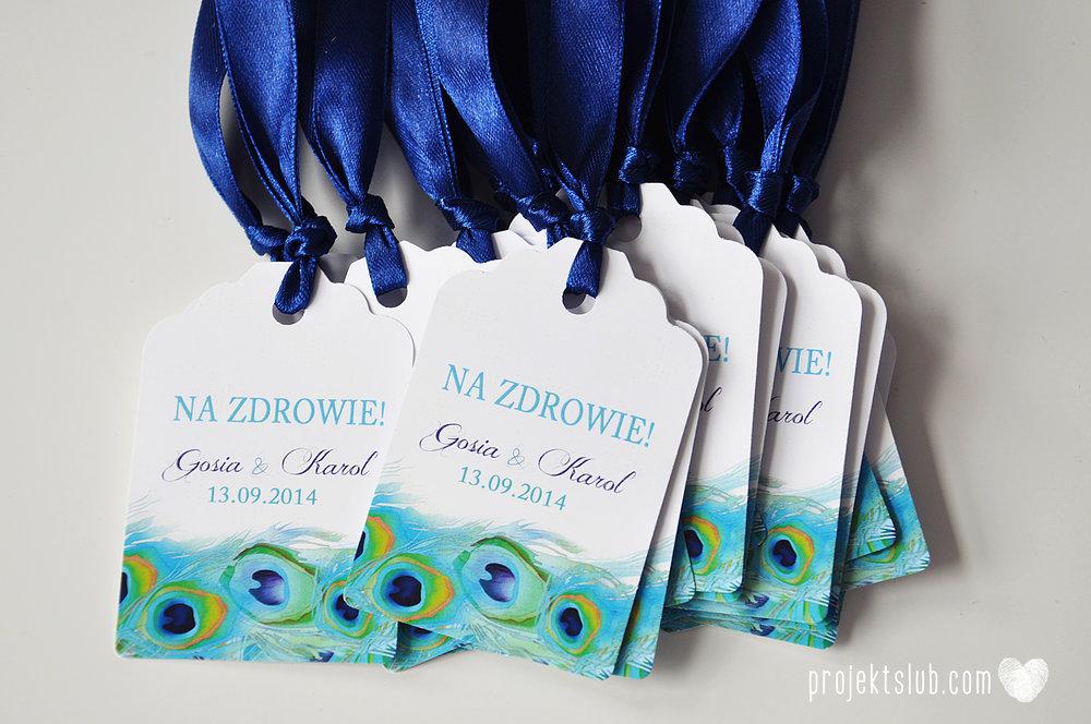 oryginalne zaproszenia i dodatki ślubne pawie oczko turkus granat biel elegancka papeteria projekt ślub (24).JPG