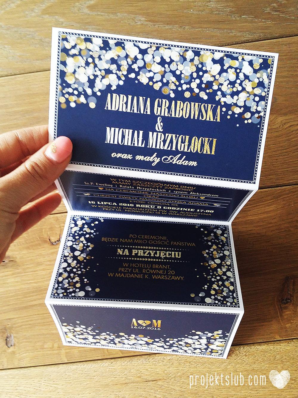 Zaproszenia na ślub i chrzciny projekt indywidualny granatowe elegancka papeteria harmonijka konfetti glamour Projekt Ślub logo .jpg