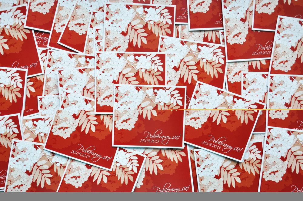 Zaproszenia ślubne jarzębinowa elegancja czerwień bordo biel eleganckie klasyczne z jarzębiną Projekt Ślub (1).JPG