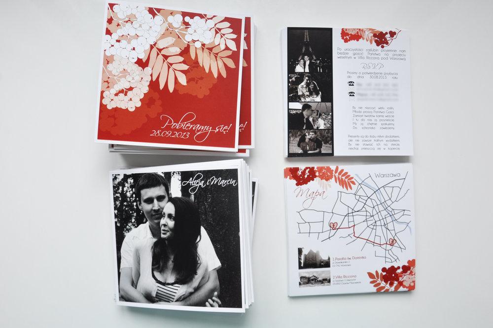 Zaproszenia ślubne jarzębinowa elegancja czerwień bordo biel eleganckie klasyczne z jarzębiną Projekt Ślub (5).JPG