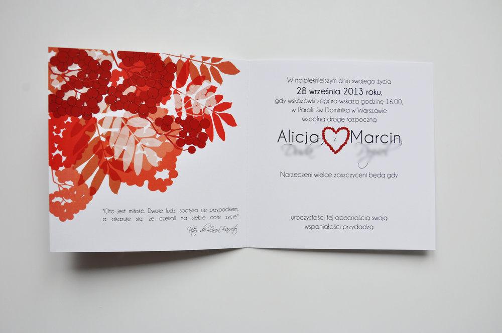 Zaproszenia ślubne jarzębinowa elegancja czerwień bordo biel eleganckie klasyczne z jarzębiną Projekt Ślub (6).JPG