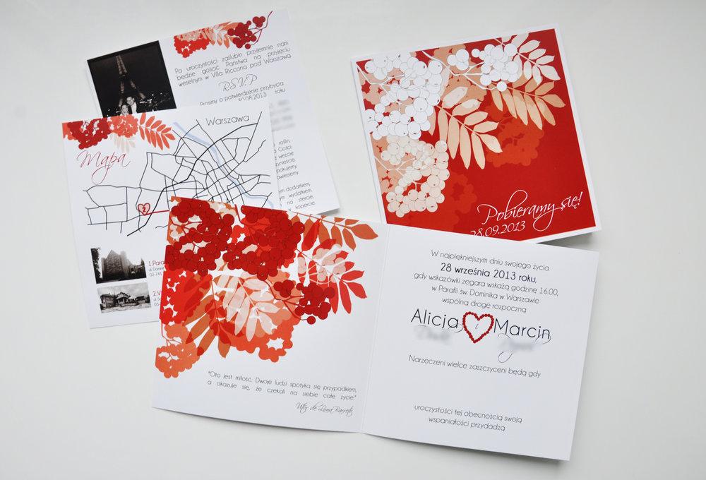 Zaproszenia ślubne jarzębinowa elegancja czerwień bordo biel eleganckie klasyczne z jarzębiną Projekt Ślub (7).JPG