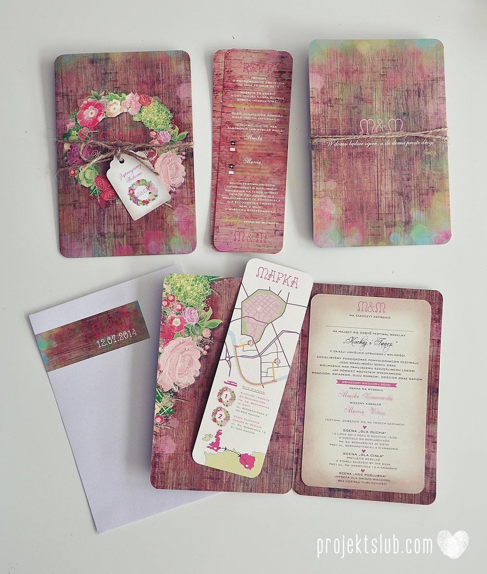 Zaproszenia ślubne wedding festival wianki kwiatowe drewno eko rustykalne boho kolorowe kwiaty festiwalowe wesele Projekt Ślub  (1).JPG