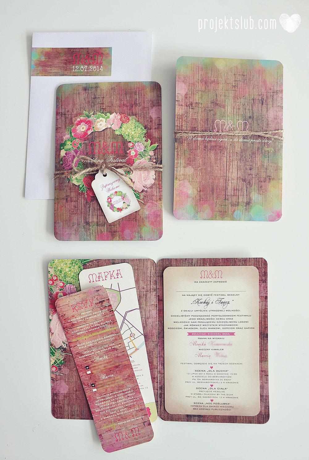 Zaproszenia ślubne wedding festival wianki kwiatowe drewno eko rustykalne boho kolorowe kwiaty festiwalowe wesele Projekt Ślub  (10).JPG
