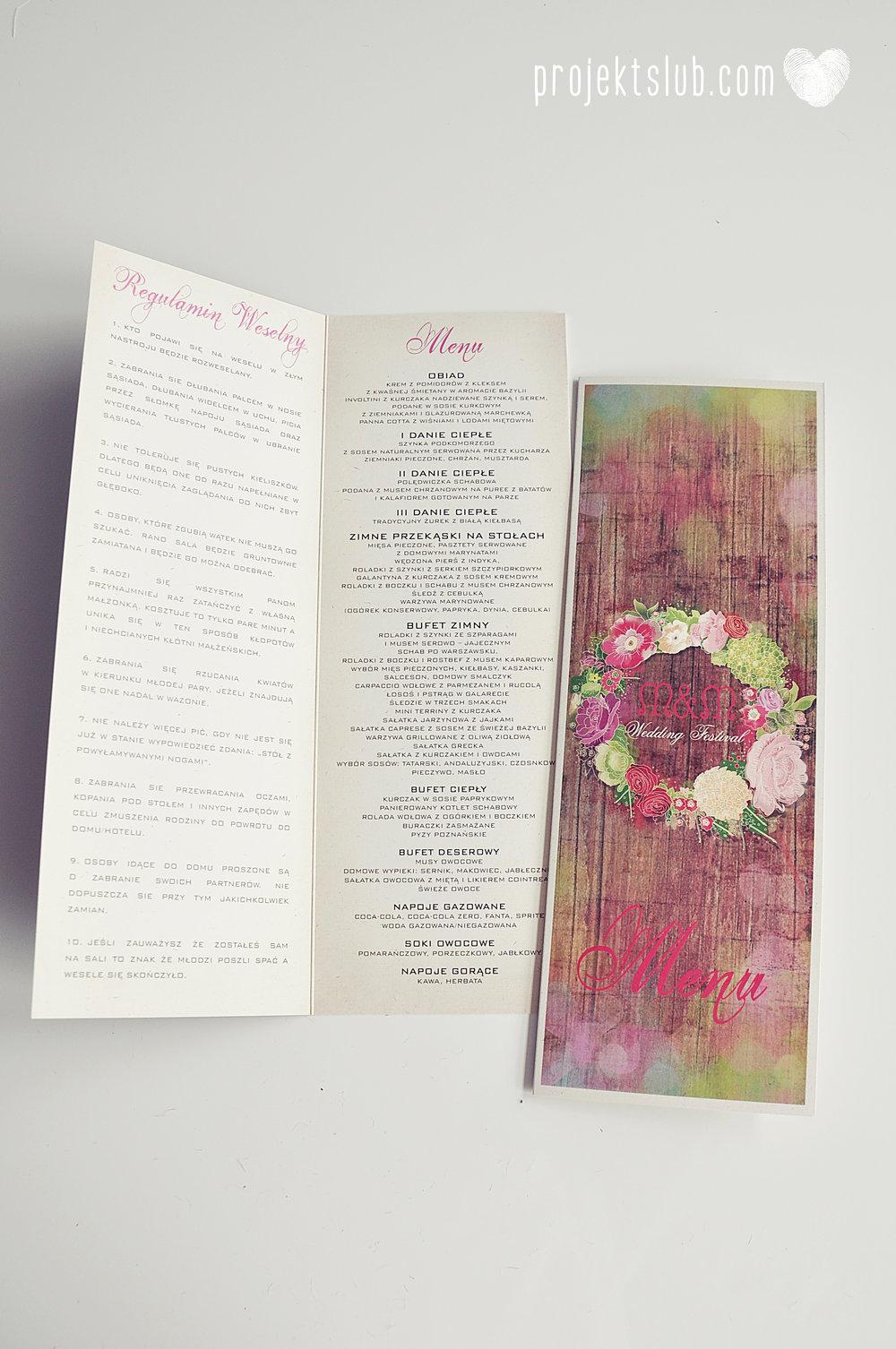 Zaproszenia ślubne wedding festival wianki kwiatowe drewno eko rustykalne boho kolorowe kwiaty festiwalowe wesele Projekt Ślub  (16).JPG