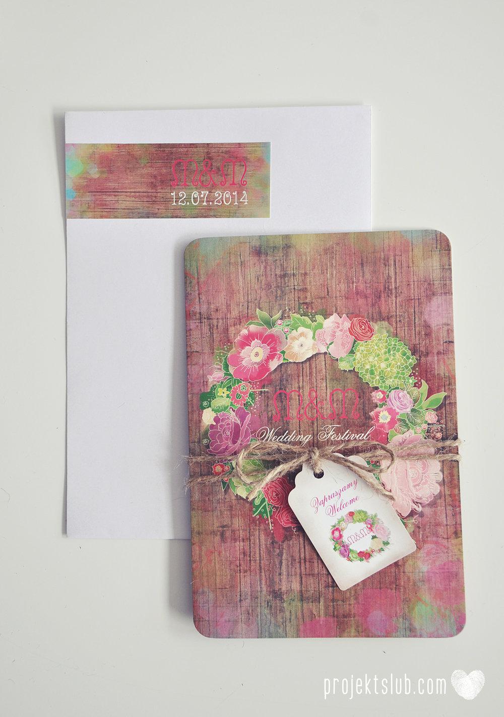 Zaproszenia ślubne wedding festival wianki kwiatowe drewno eko rustykalne boho kolorowe kwiaty festiwalowe wesele Projekt Ślub  (28).JPG