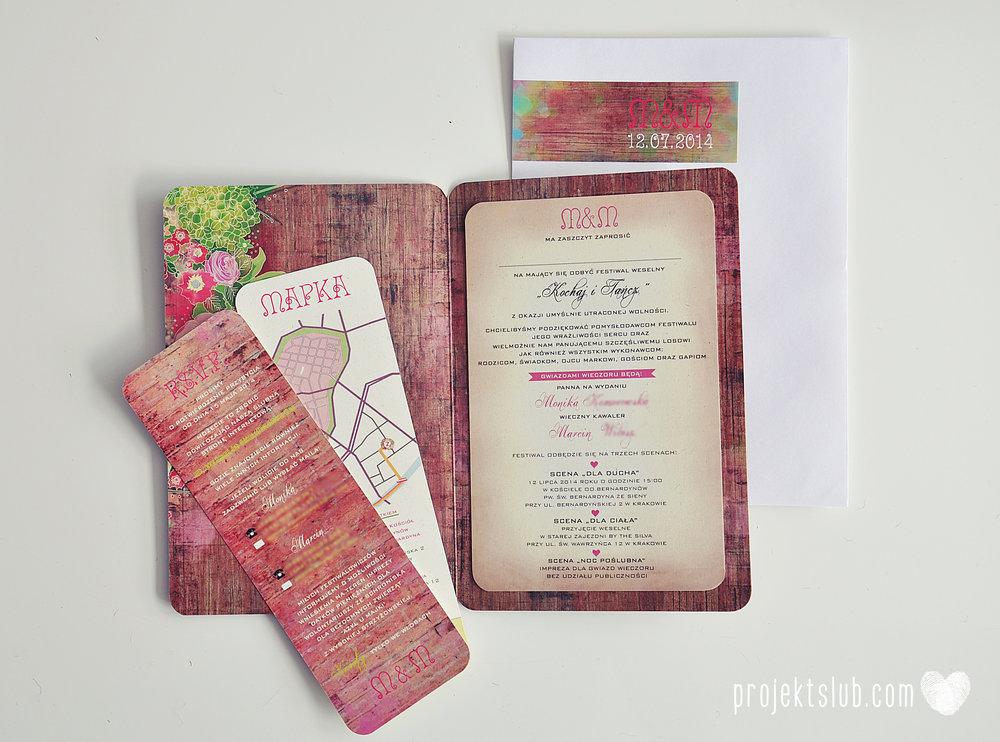Zaproszenia ślubne wedding festival wianki kwiatowe drewno eko rustykalne boho kolorowe kwiaty festiwalowe wesele Projekt Ślub  (29).JPG