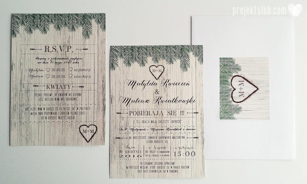 Zaproszenia ślubne Woodlove z motywem drewna iglaków świerku lasku rustykalne leśne eko Projekt Ślub (2).jpg