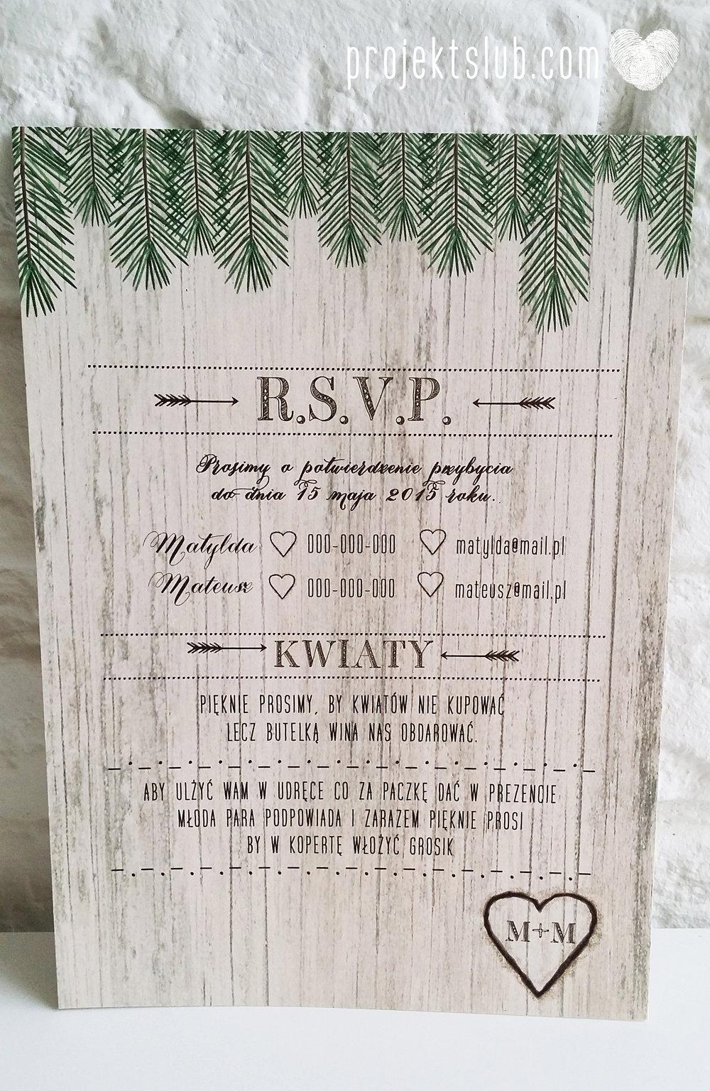 Zaproszenia ślubne Woodlove z motywem drewna iglaków świerku lasku rustykalne leśne eko Projekt Ślub (4).jpg