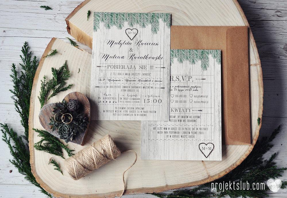 Zaproszenia ślubne Woodlove z motywem drewna iglaków świerku lasku rustykalne leśne eko Projekt Ślub (1).jpg