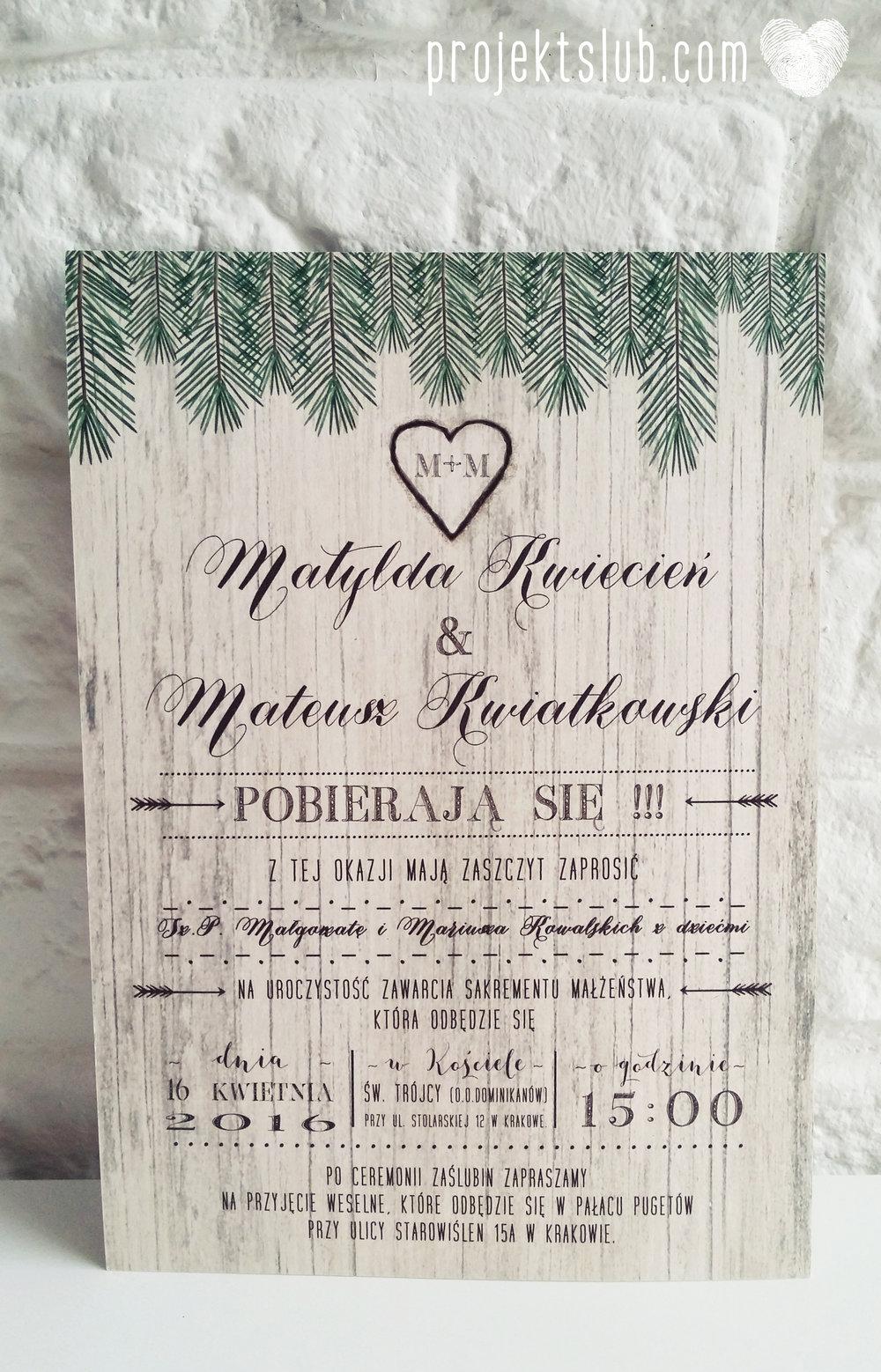 Zaproszenia ślubne Woodlove z motywem drewna iglaków świerku lasku rustykalne leśne eko Projekt Ślub (5).jpg