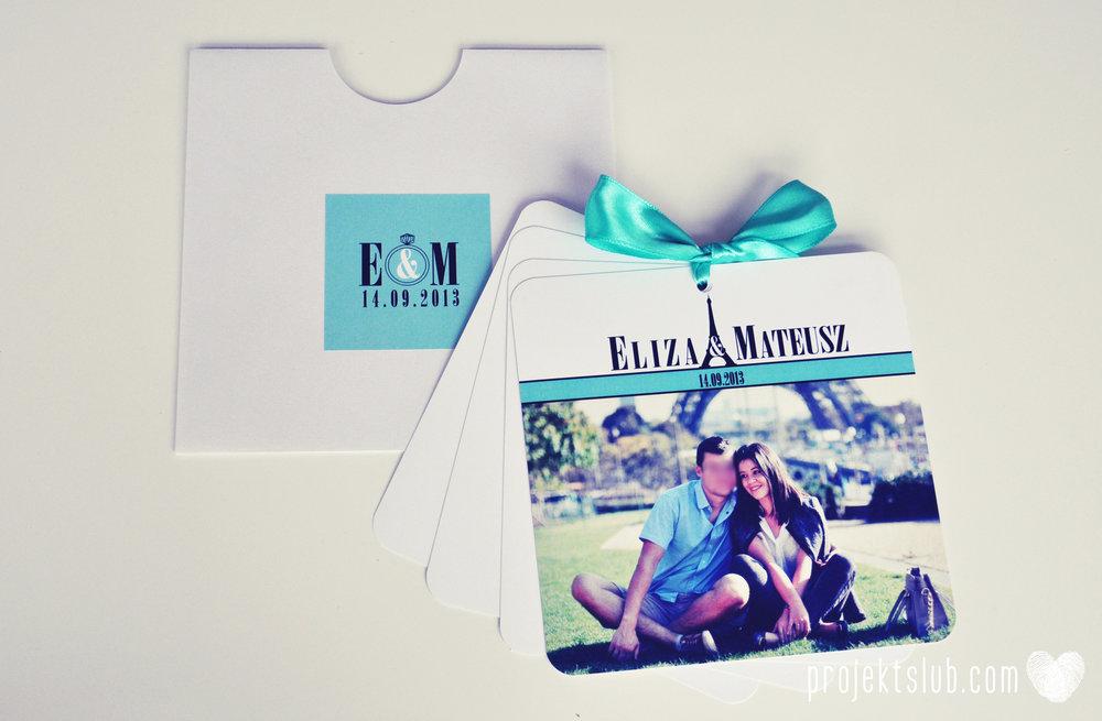 zaproszenia ślubne fashionelki wieża eiffel paryż piktogramy elegancki minimalizm błękit kolor tiffany zdjęcie narzeczonych Projekt Ślub (23).JPG