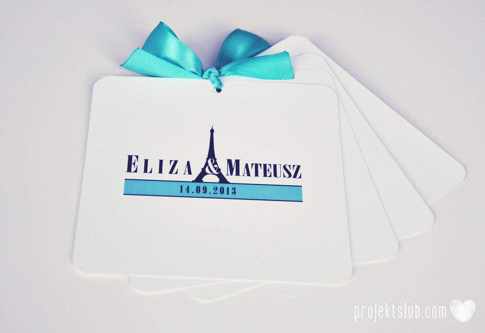 zaproszenia ślubne fashionelki wieża eiffel paryż piktogramy elegancki minimalizm błękit kolor tiffany zdjęcie narzeczonych Projekt Ślub (26).JPG