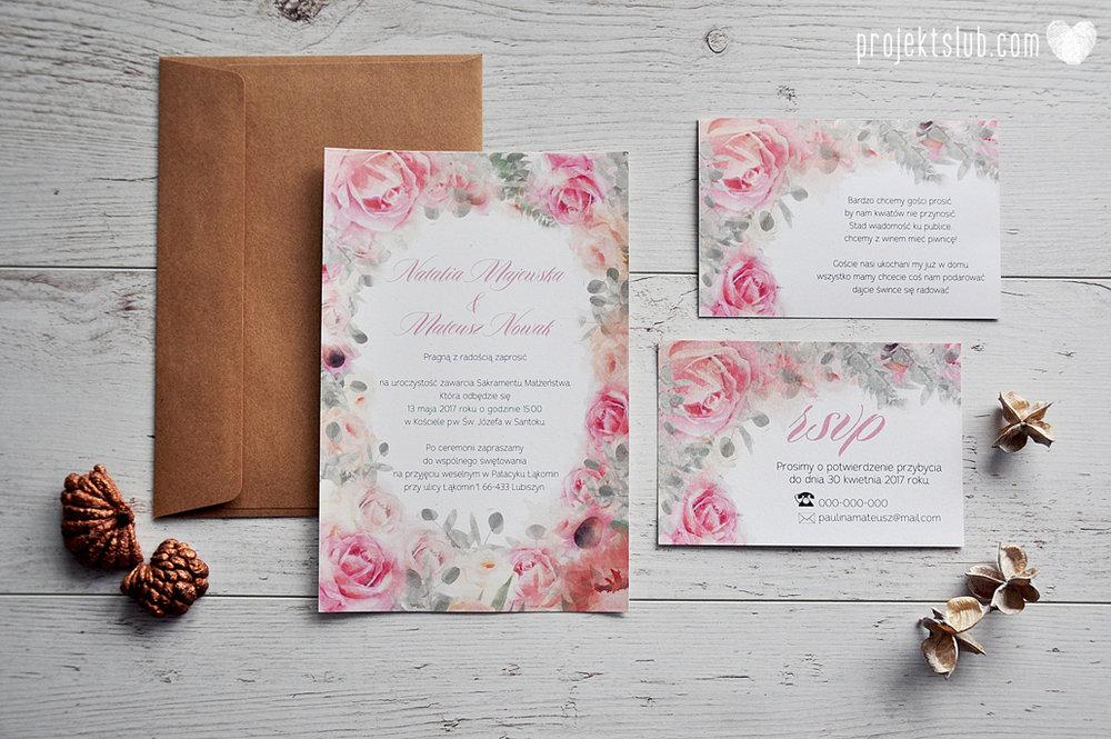 Zaproszenia slubne poligrafia weselna kwiatowe romantyczne wzory rustyklalne z kwiatami malowanymi akwarela Projekt Slub  (2).JPG