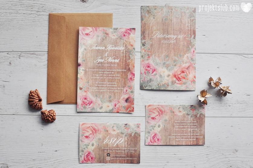 Zaproszenia slubne poligrafia weselna kwiatowe romantyczne wzory rustyklalne z kwiatami malowanymi akwarela Projekt Slub  (7).JPG