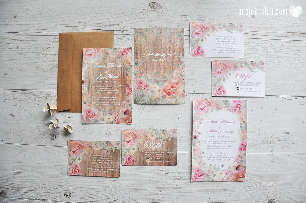 Zaproszenia slubne poligrafia weselna kwiatowe romantyczne wzory rustyklalne z kwiatami malowanymi akwarela Projekt Slub  (10).JPG