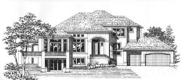 MOSSWOOD 3729   3729 Square Feet  4 Bedrooms – 3.5 Baths  108' Wide – 59' Deep  Great plan for uphill lot with front views