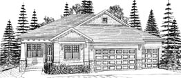 ROWAN 2287 2287 ML + 1400 LL = 3687 Total Square Feet 2 ML + 2 LL Bedrooms – 2.5 ML Baths + 1 LL Bath 57' Wide – 62' Deep Open plan with compact footprint and secondary bedroom on the main level