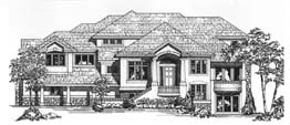 DORCHESTER 3943 3943 Square Feet 4 Bedrooms - 4.5 Baths 87' Wide - 57' Deep Ideal plan for a steep or uphill lot, living room, back stair