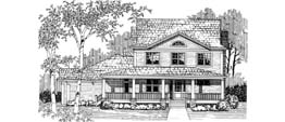 CAROLINA 3460   3460 Square Feet  5 Bedrooms - 3.5 Baths  61' Wide - 91' Deep  Attached mother-in-law suite, wrap around porch